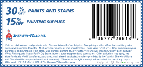 Sherwin Williams Black Friday Ad Scan - Page 1