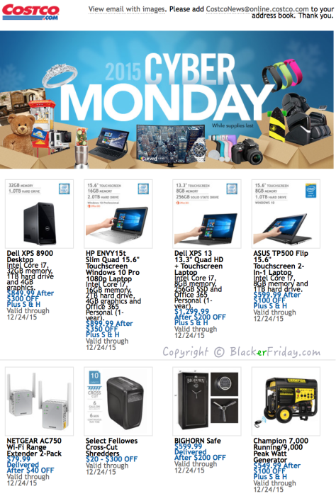 Costco Cyber Monday Ad Scan - Page 1