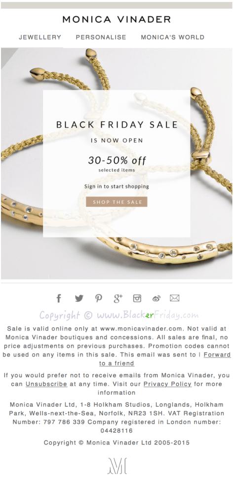 Monica Vinader Black Friday Sale Ad Flyer - Page 1