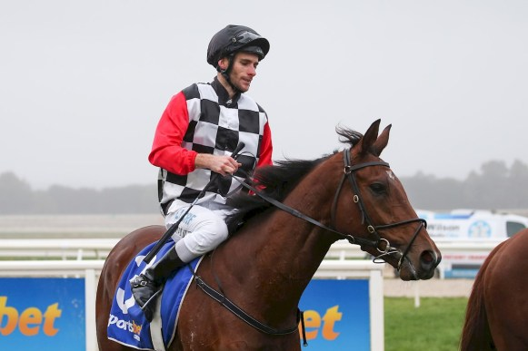 Jamie Mott returns after winning at Sportsbet-Ballarat June 02, 2019. (Pat Scala/Racing Photos)