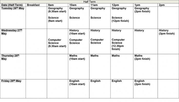 Half Term study timetable Blackpool Aspire Academy - study timetable