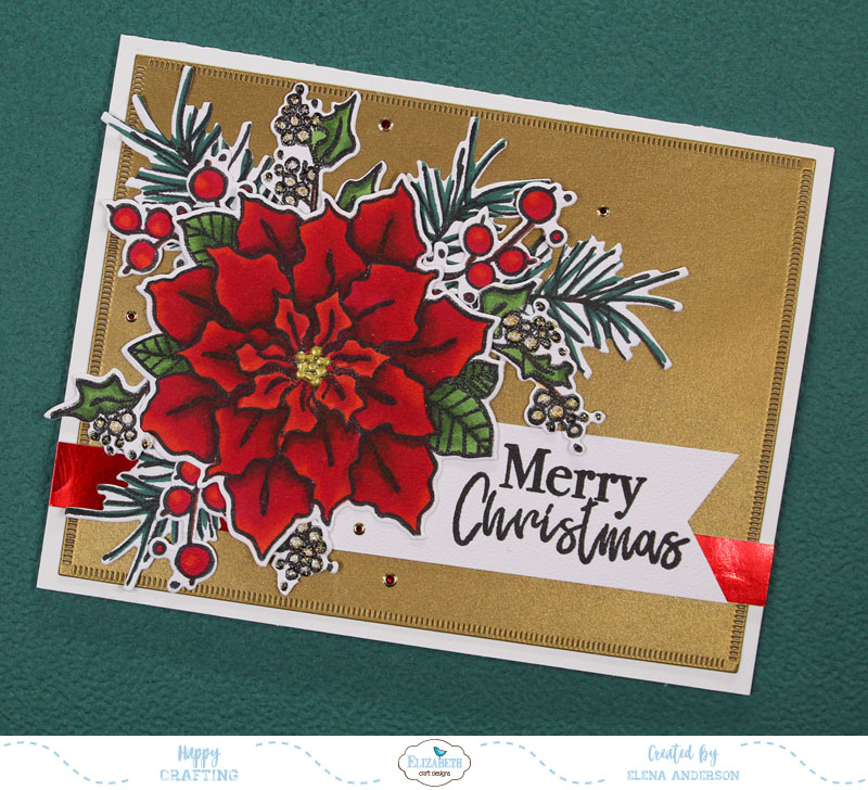 Classic Poinsettia Christmas Card for Elizabeth Craft Designs