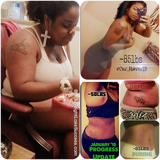 Cre lost 85 pounds Black Weight Loss Success