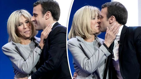 Macron and wife kissing