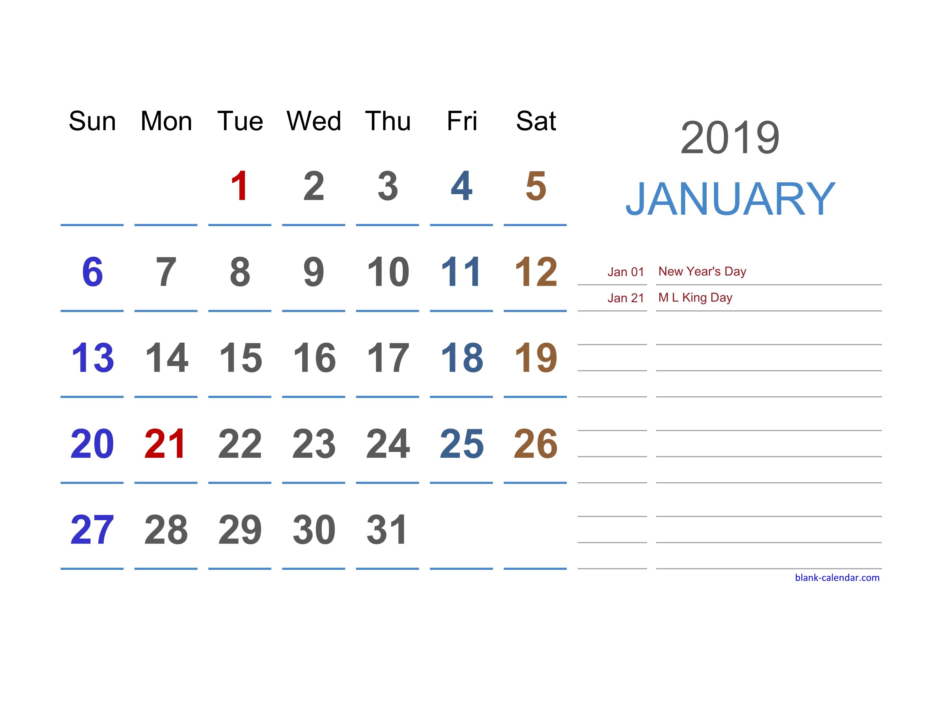 excel calendars 2019