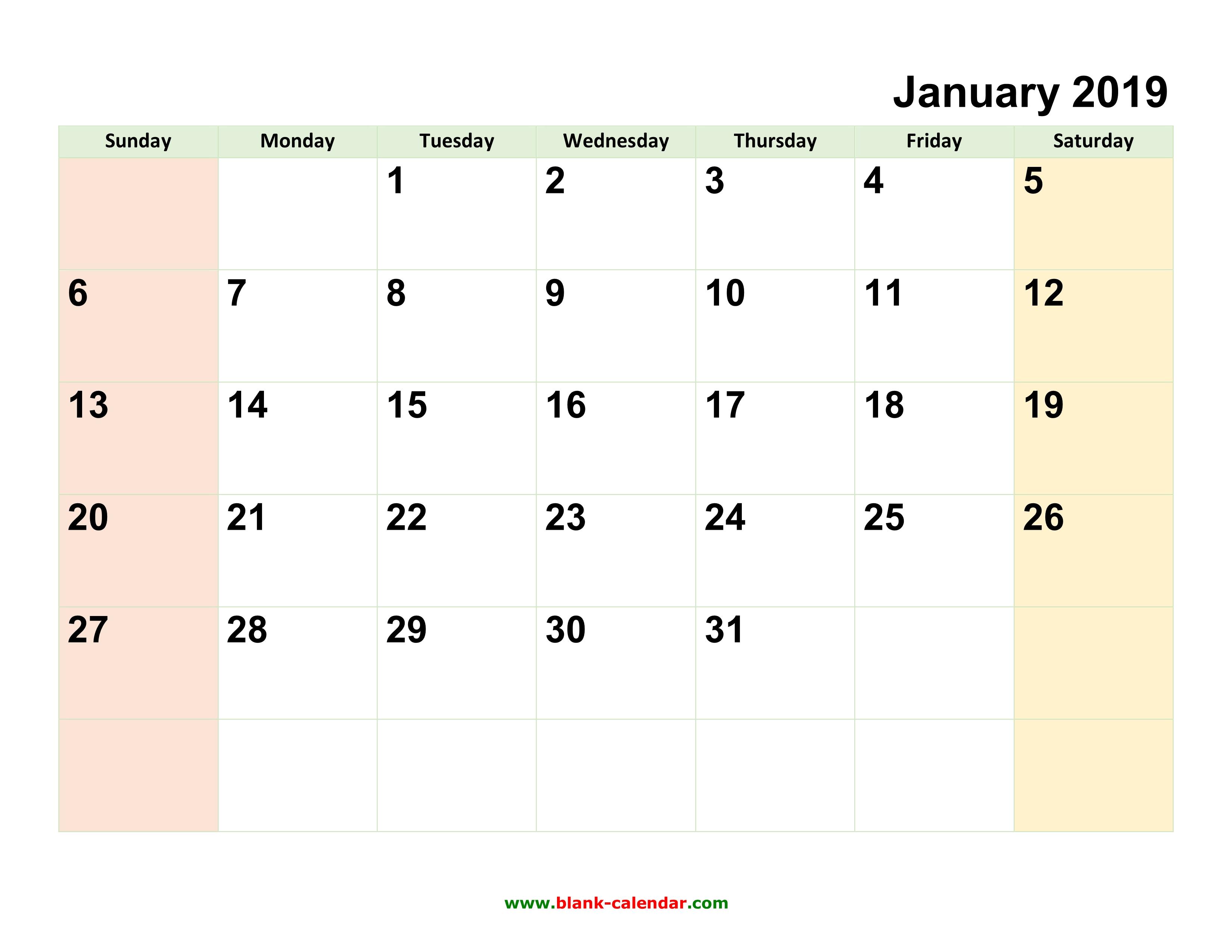 blank calendar 2019 monthly