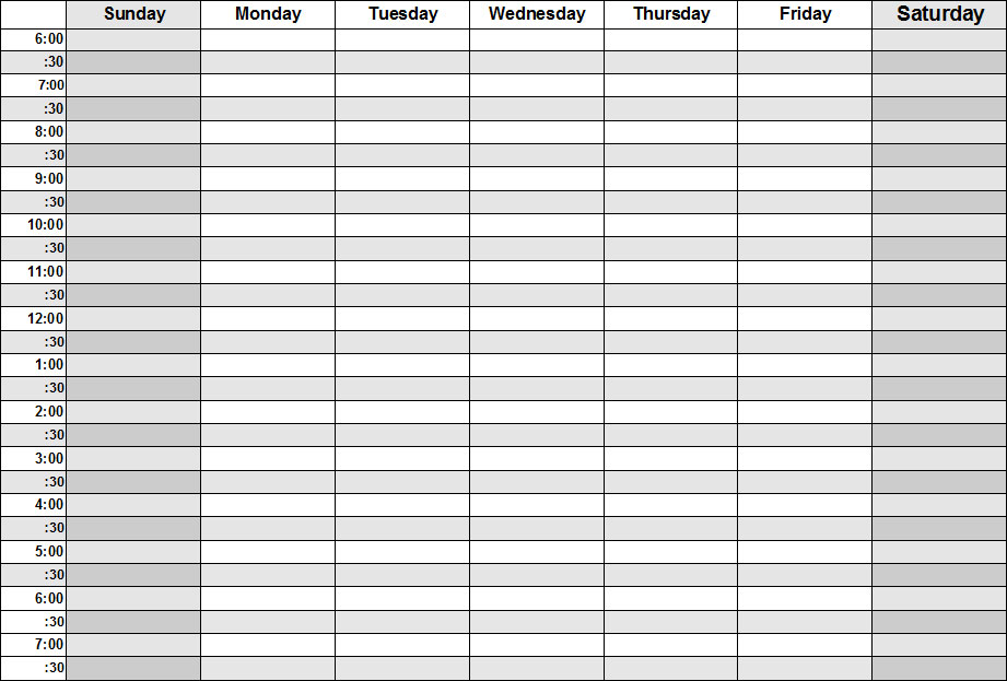 Blank Calendars - Weekly Blank Calendar Templates