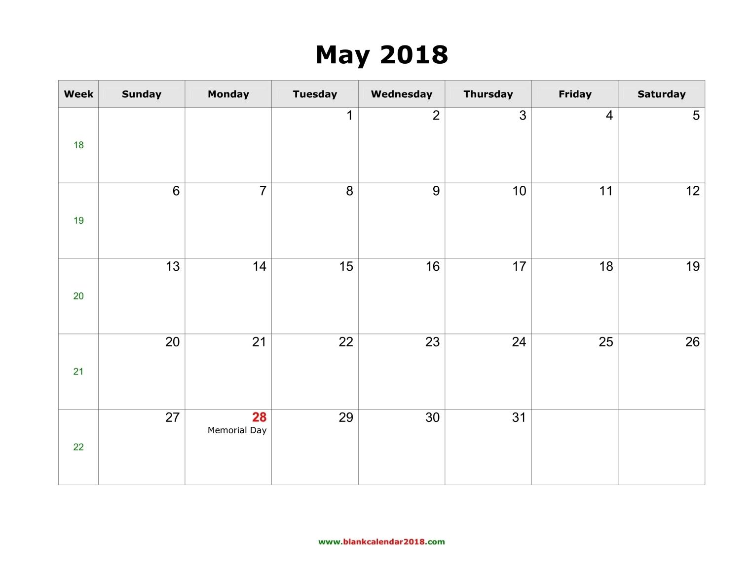 Us Calendar With Week Numbers Week Calendar 2017 Week Numbers 2017 Blank Calendar For May 2018