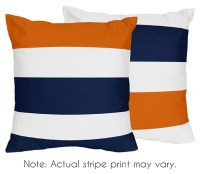 Navy & Orange Stripe Accent Pillows