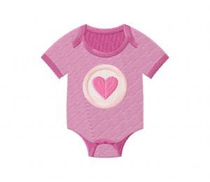 Baby Girl Onesie Heart Stitched 5_5 Inch