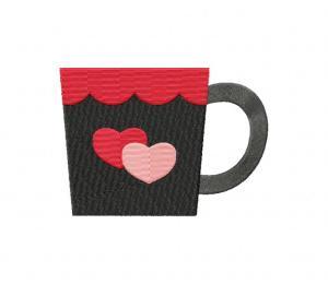 Valentine Coffee Mug Double Heart Stitched 5_5 Inch
