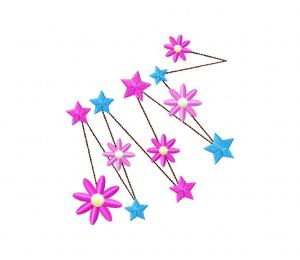Vivid Stars and Flowers Stitched 5_5 Inch