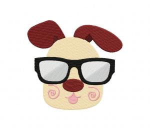 Puppy And Sunglass Stitched 5_5 Inch