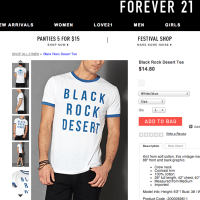 Forever 21 co-opts Burning Man culture with the 'Black Rock Desert Tee'