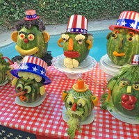 Uncle Watermelon, perfectly silly Fourth of July mascot centerpieces by Charles Phoenix