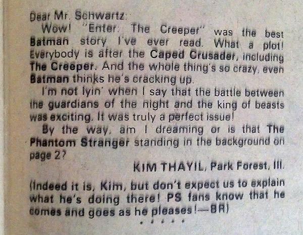 Kim Thayil Detective Comics letter