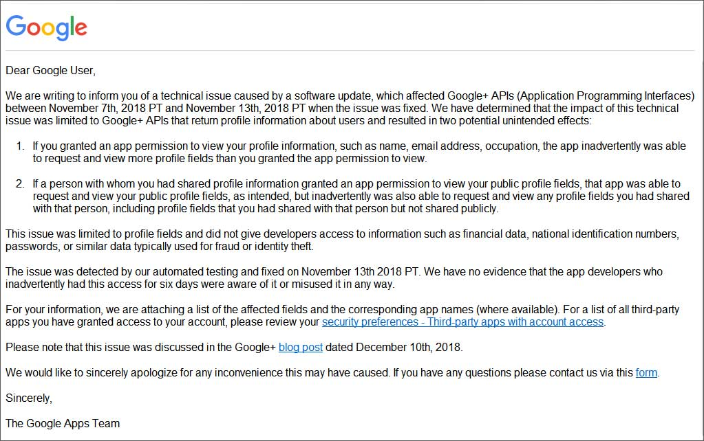 Google Emails Users About Private Data Exposed by Google+ API Bug