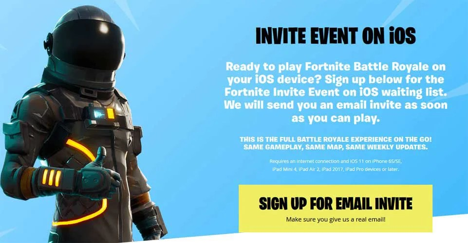 Fortnite iOS Mobile Invite Event Signup Page Now Live (UPDATED)