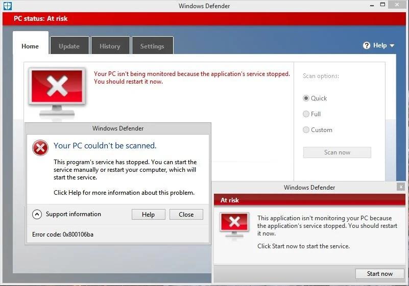 Microsoft Antimalware Crashing With Error 0x800106ba on Windows 7  8