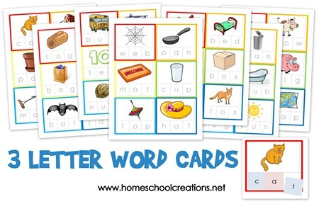 FREE 3 Letter Word Flashcards! - Blessed Beyond A Doubt - word letter
