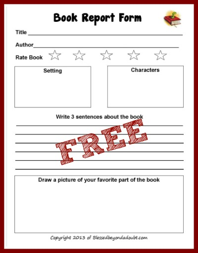 FREE Book Report Form! - Blessed Beyond A Doubt