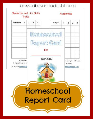 FREE Homeschool Report Card Form! - Blessed Beyond A Doubt - homeschool report card template