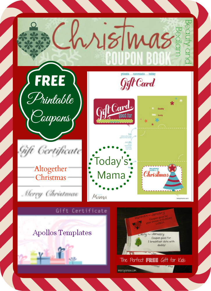 Christmas homemade coupon templates  Santa deals cork