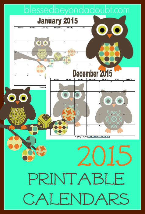 FREE 2015 Monthly Printable CalendarSuper CUTE!