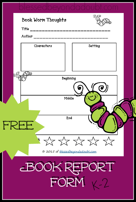 FREE Printable Book Report Form! So Cute! - printable book report forms