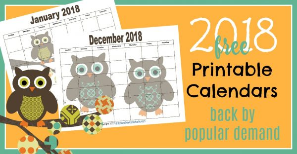 FREE 2018 and 2019 Monthly Printable Calendars - Owl Themed