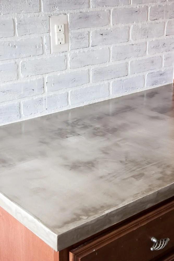 DIY Feather Finish Concrete Countertops