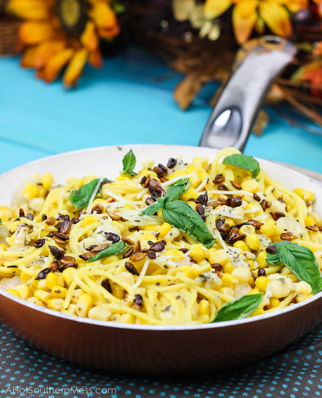 corn and gluten-free pasta is added to a creamy basil goat cheese ...