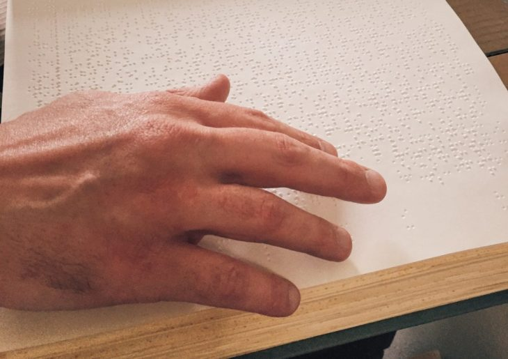 Eric reading Braille