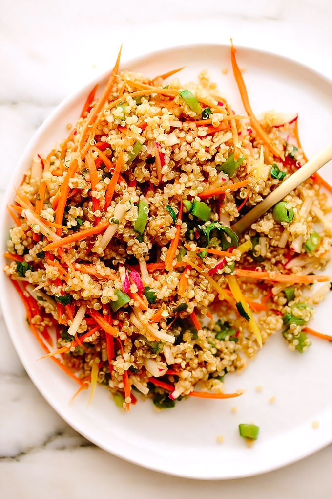 Spring Quinoa Salad with Sesame-Maple Dressing - Blissful Basil - photo of spring