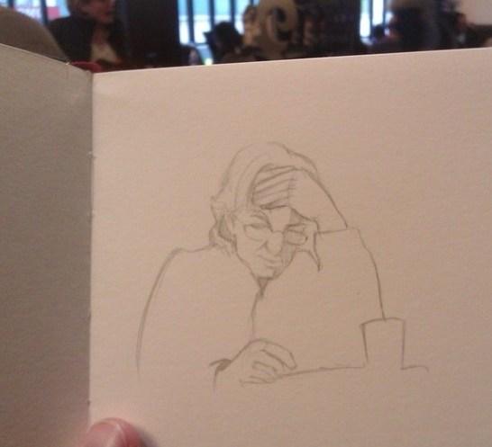 Un des portraits dessiné dans un café
