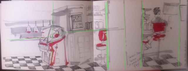 La structure de mon croquis mise en évidence avec les lignes vertes