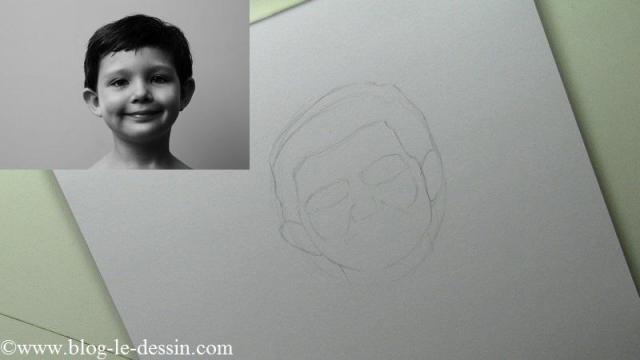 Pour la suite du portrait, je dessine les formes adjacentes et non les membres du visage.