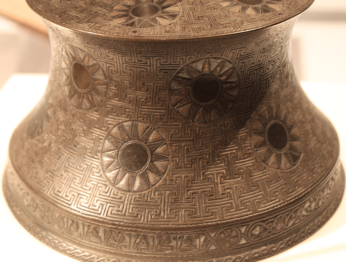 Candlestick Anatolia, Turkey, 14th century' Copper, tin, and zinc alloy, inlaid with silver and gold