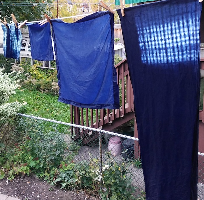 Doris Lovadina-Lee's indigo samples from Roland Ricketts master class in indigo dyeing workshop by the Textile museum of canada