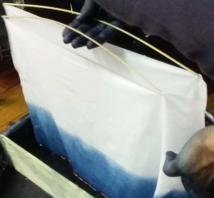 set up for indigo dip dyeing to create ombre with roland ricketts