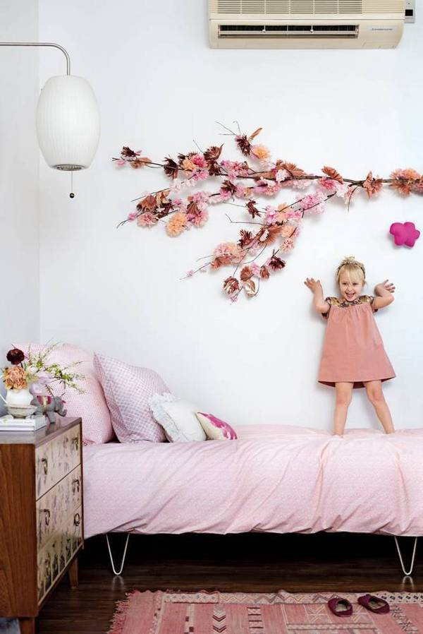 Kids Bedroom with Cherry Blossoms in Domino Magazine | Gather Goods Co