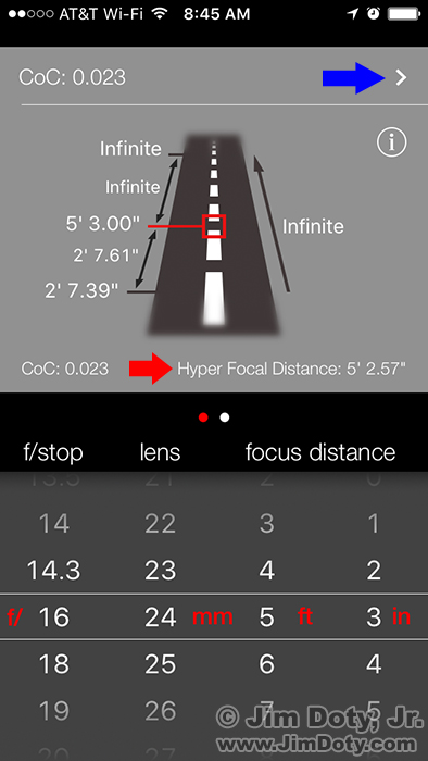 Depth of Field and Hyperfocal Distance App for iPhones and iPads