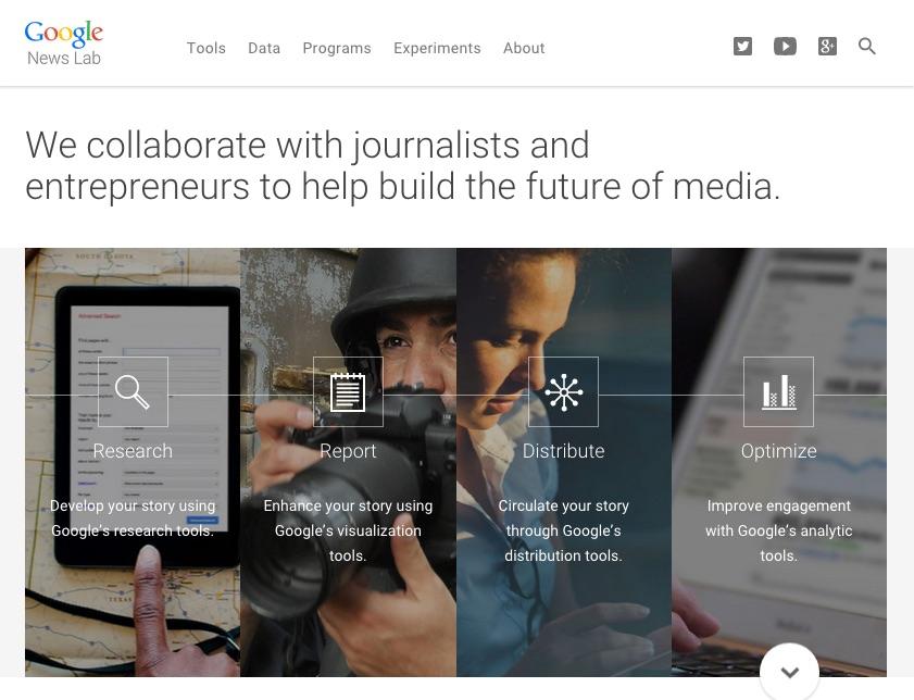 "Screenshot des ""Google News Lab"""