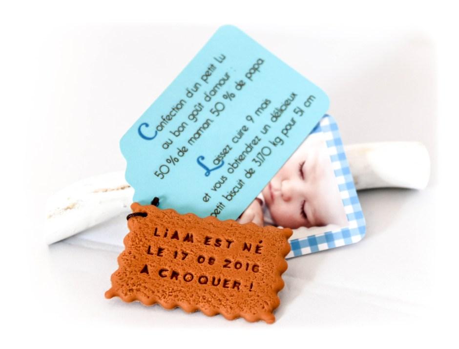 Faire-part de naissance, biscuit personnalisé