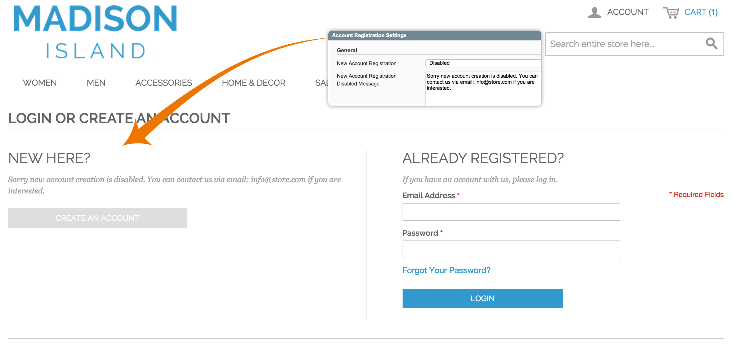 Shop customer account create/downloader -  Account Registration 2 1 Disable Customer Registration Download