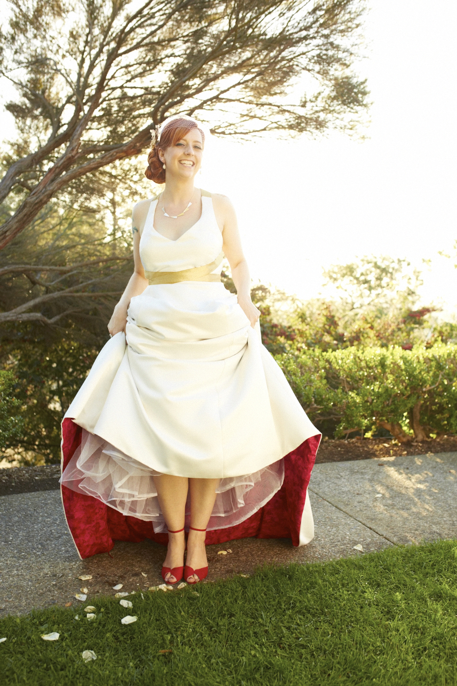 wedding dresses wedding dresses with red Halter Wedding Gown with Red Lining