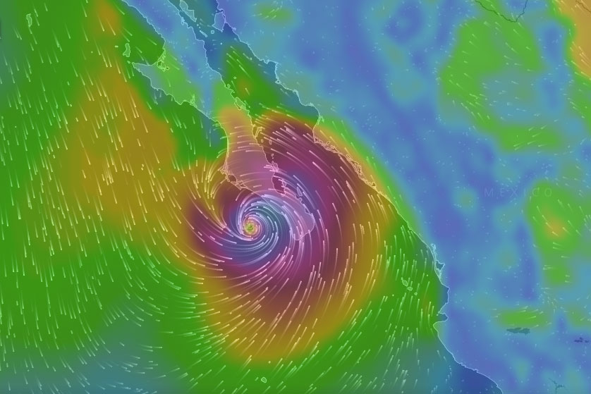 windyty screen grab of hurricane blanca