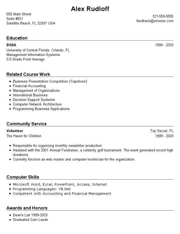 Resume 1st job template – Resume Template No Work Experience