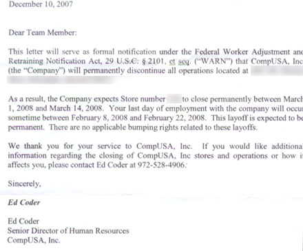 CompUSA sends out layoff letters bad service extends to employees, too