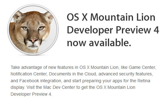 Apple releases Mountain Lion Preview 4 and IOS 6 for developers, iTunes 1063 for everyone else